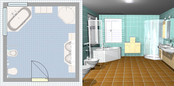 Salle de bain en 3d les logiciels en ligne et leur for Plan de salle de bain 3d